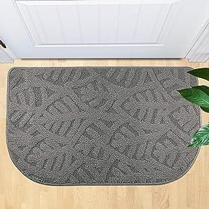 """TOONOW Indoor Doormat Front Door Mat,30""""x18"""", Low-Profile Machine Washable Kitchen Rug, Absorbent Mud Half Round Entrance Mat for Outdoors, Bathroom, Patio, Bedroom, Grey"""