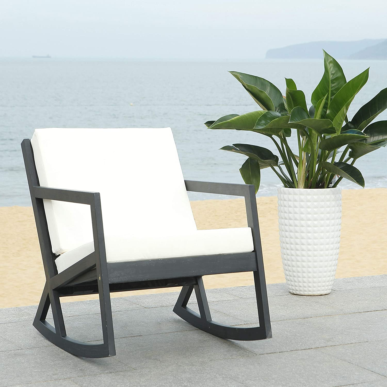 Shop Safavieh PAT7013F Outdoor Collection Vernon White Rocking Chair from Amazon on Openhaus