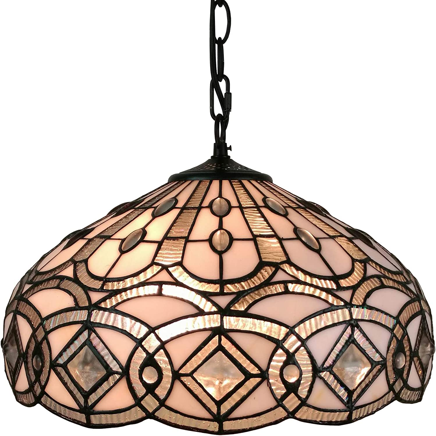 Amora Lighting Tiffany Style Hanging Pendant Lamp 16 Wide Stained Glass White Jeweleds Beads Mahogany Antique Vintage Light Decor Restaurant Game Living Dining Room Kitchen Gift AM295HL16
