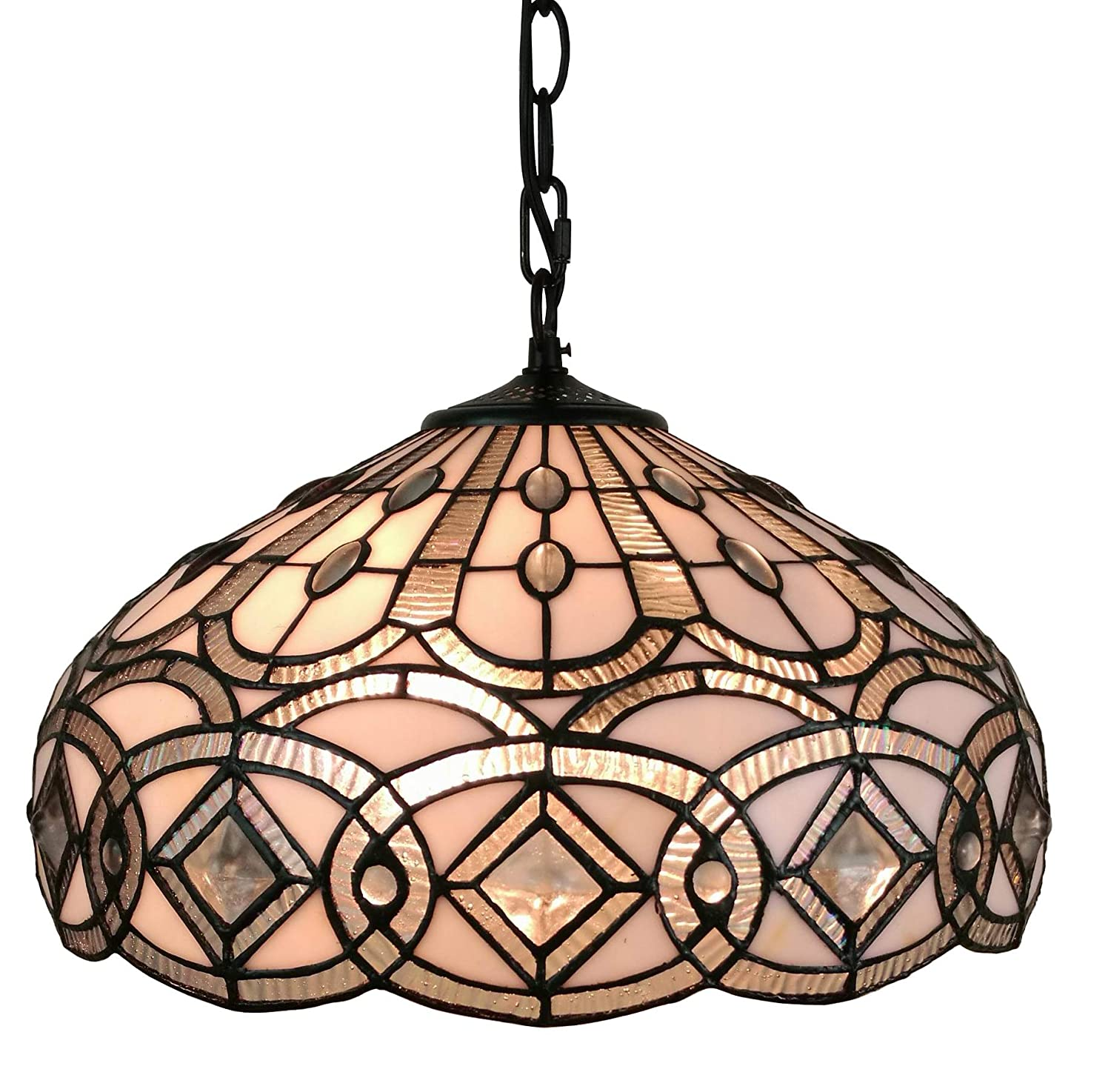 Amora lighting am295hl16 16 inches wide tiffany style white hanging lamp 16