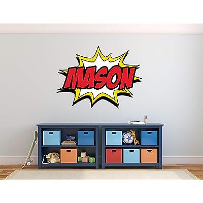 "Custom Comic Name Wall Decal - Superheroes Wall Decals - Nursery Wall Decals - Baby Room Mural Art Decor Vinyl Sticker (50"" x 36""): Baby"