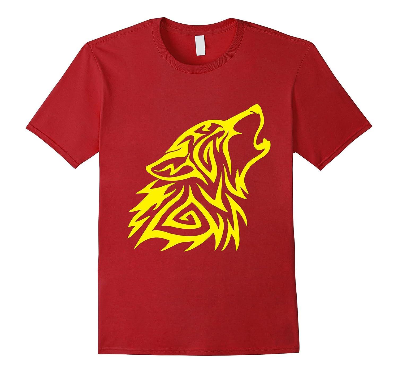 Yellow Fenrir Wolf Howl Odin T Shirt Nordic Valhalla Mjolnir-TH