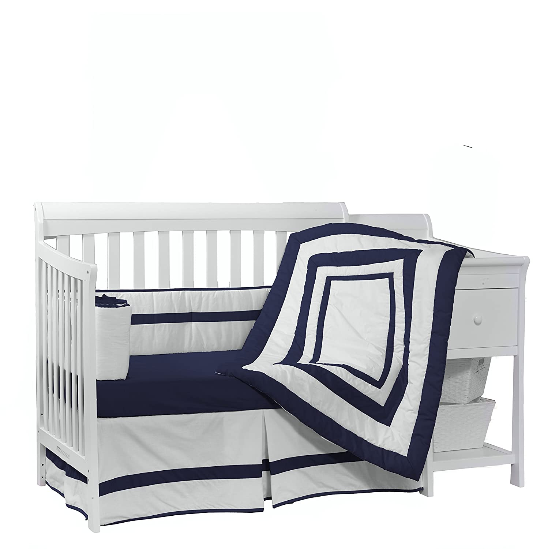 Baby Doll Bedding Modern Hotel Style Crib Bedding Set, Navy by BabyDoll Bedding   B008B348FG