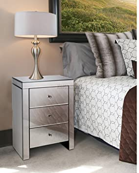 Westwood Mirrored Furniture Glass 3 Drawer Bedside Cabinet Table