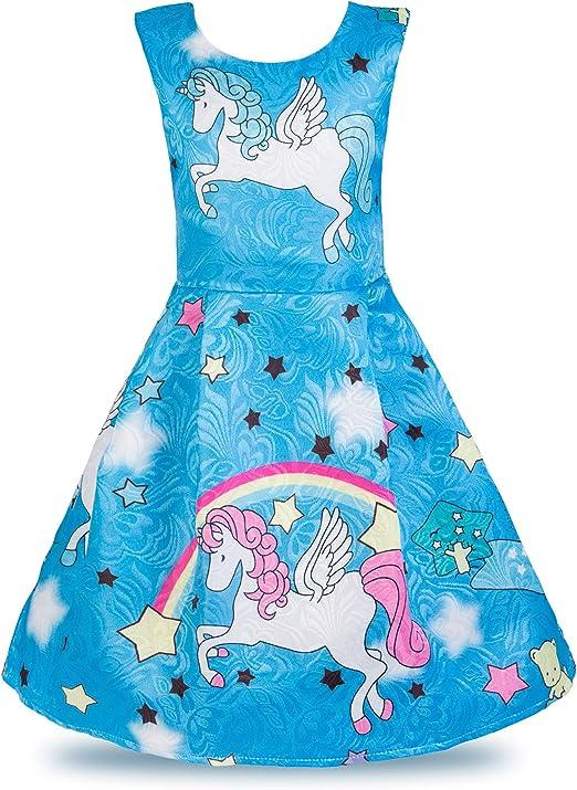 Amazon.com: Wocau - Vestido plisado con diseño de unicornio ...
