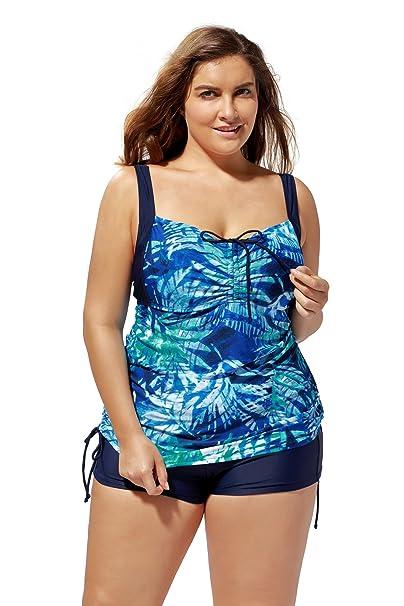 1ad361e44f ATTRACO Women s Flower Tankini Top Plus Size Swimwear Scoopneck Swimsuit 3X  Plus
