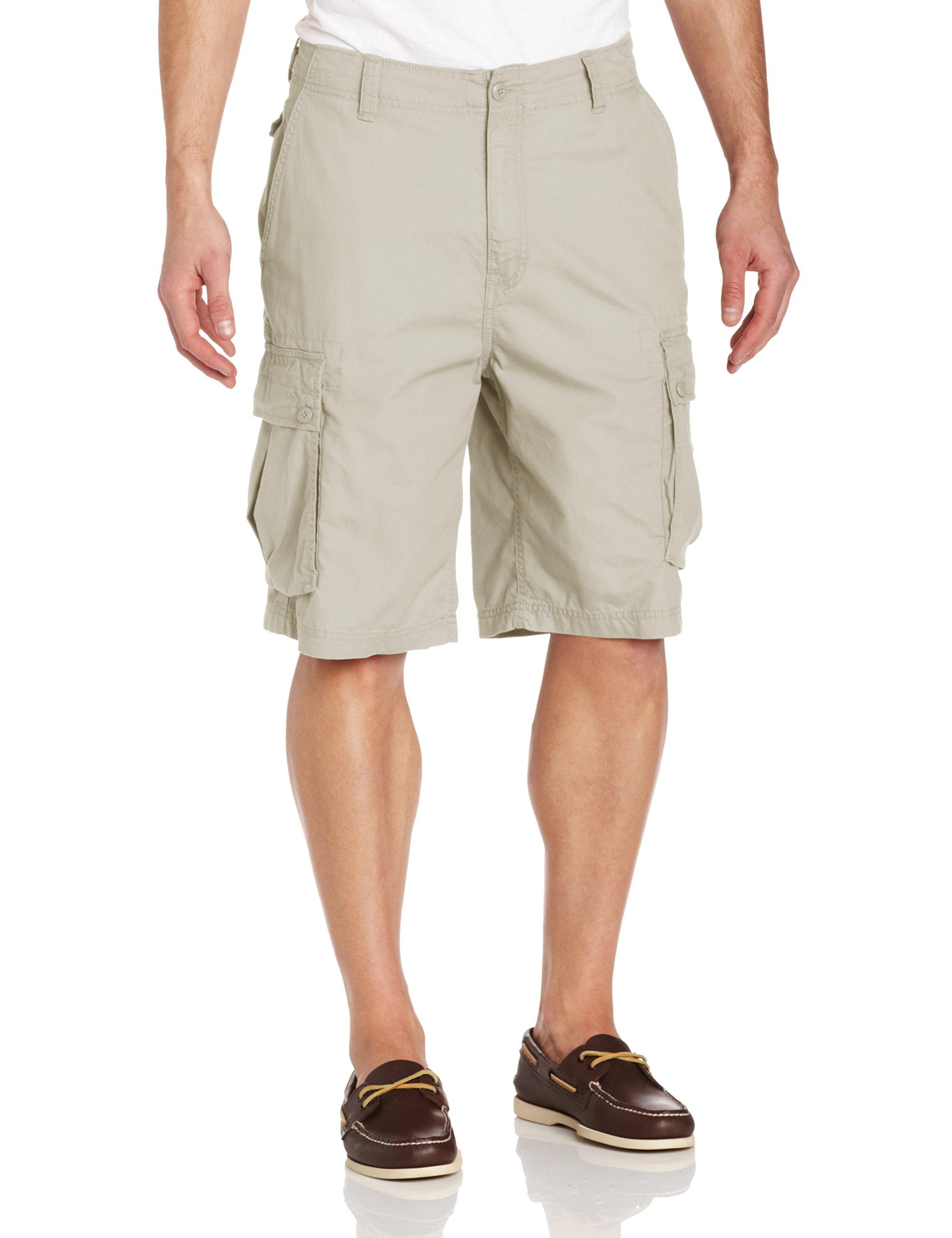Nautica Men's Mini Ripstop Twill Cargo Short Shorts, Stone, 42W