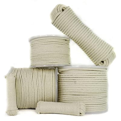 SGT KNOTS Cotton Sash Cord - 3/8 in x 25 ft Coil, Natural White, Window Sash Replacement, Clotheslines, Theater, All-Purpose Rope