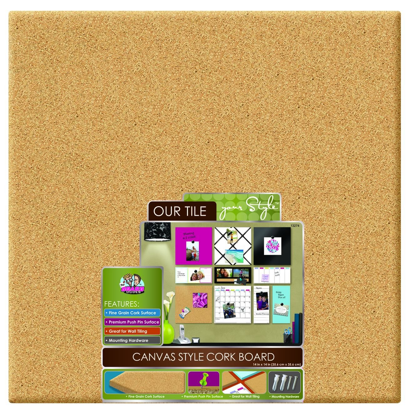 Board Dudes 14 x 14 Inches Canvas Style Cork Board (DDY96) Mattel
