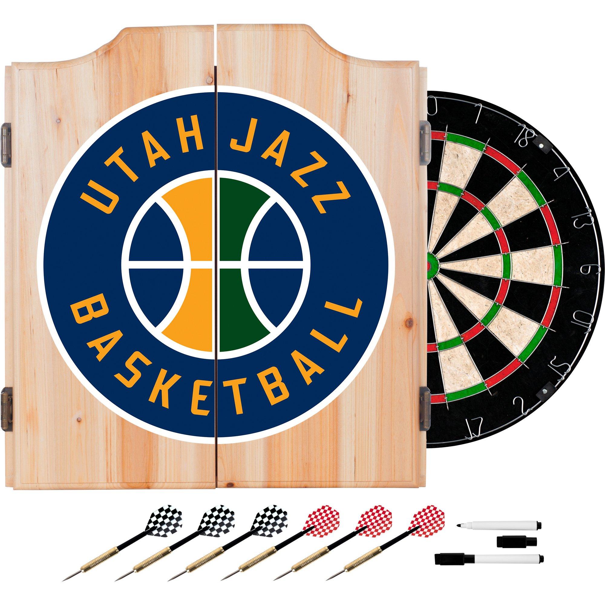 Trademark Gameroom NBA Utah Jazz Wood Dart Cabinet Set by Trademark Gameroom