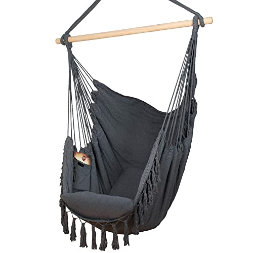Komorebi Hammock Chair Hanging Rope Swing Seat for Indoor Outdoor Soft Durable Cotton Canvas 2 Cushions Included Large Reading Chair with Pocket for Bedroom, Patio, Porch Grey