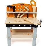Kledio Werkbank Kinder aus Holz FSC 100%, Kinderwerkbank ist 14-teilig und inkl. Kinderwerkzeug, Spielzeug für Kinder ab 3 Jahren Geeignet