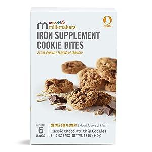 Munchkin Milkmakers Prenatal Iron Supplement Cookie Bites, Chocolate Chip, 6 Pack