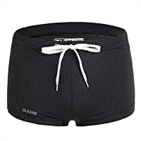 Men's Flat Front Swimsuit,Swimming Trunks and Fitness Swimwear High Elasticity, Abrasion Resistant, Quick Drying, Safe Waist Rope, Closer Fit. Suitable for Gym Pool Sea Surfing, Black(XL)