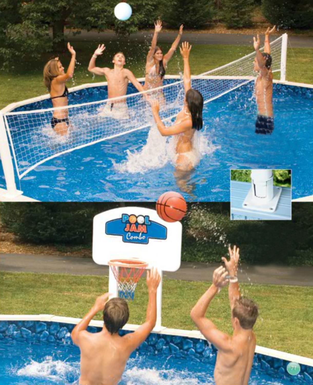 Amazon.com: Pool Jam Combo Basketball and Volleyball Above ...