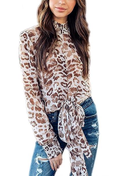 Zamtapary Gasa Estampado de Leopardo de Las Mujeres Casual Camiseta Tee Top Blusas Tejidas: Amazon.es: Ropa y accesorios