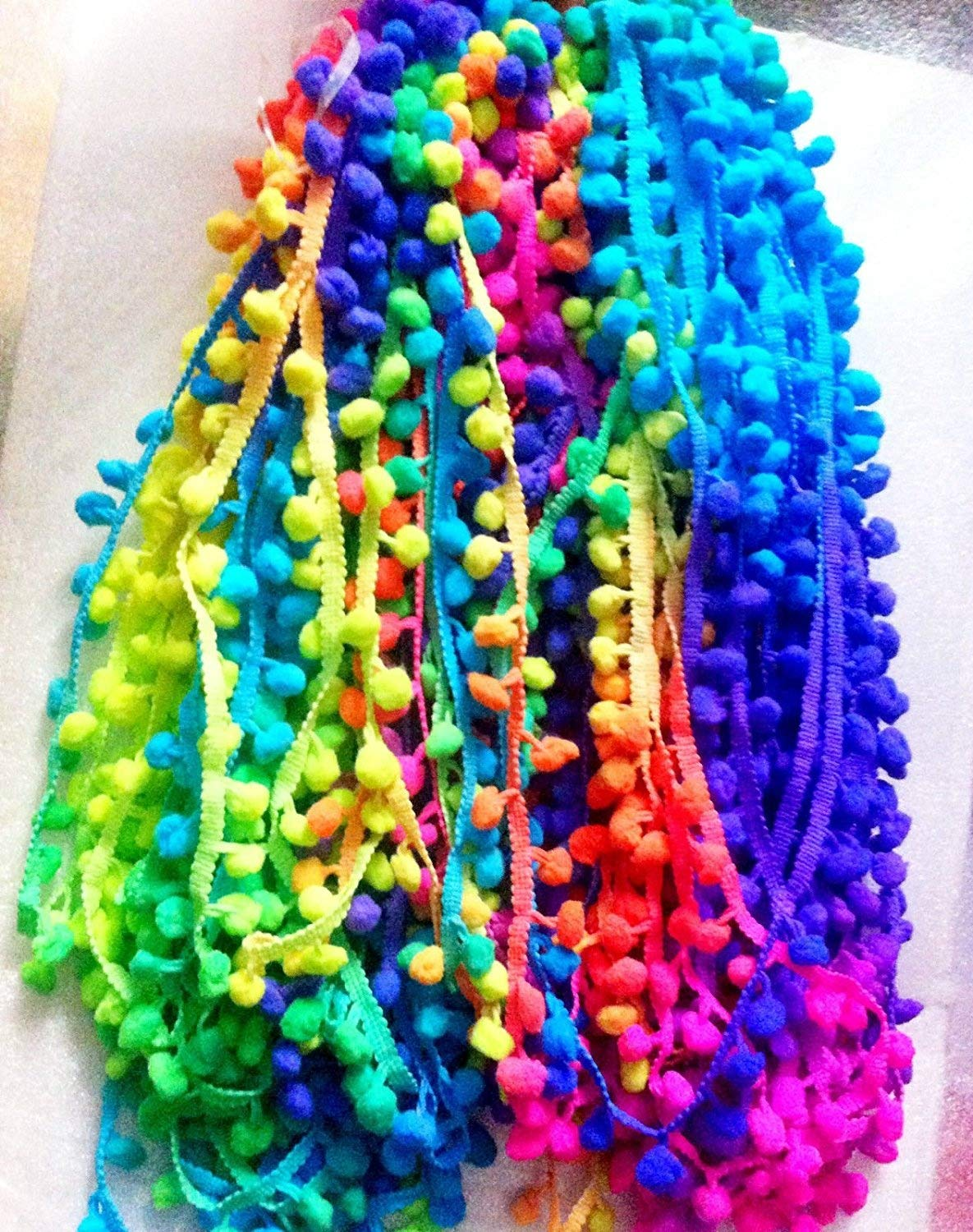 POM POM BOBBLE TRIM FRINGE - Multicolored RAINBOW- Ball 1cm (sold by the metre)) HomeBuy
