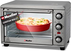 Mueller AeroHeat Convection Toaster Oven 1200W, Broil, Toast, Bake, 4 Slice, Timer, Auto Shut-Off and Sound Alert, 3 Rack Position, Removable Slide-Out Crumb Tray, Accessories and Recipes Included