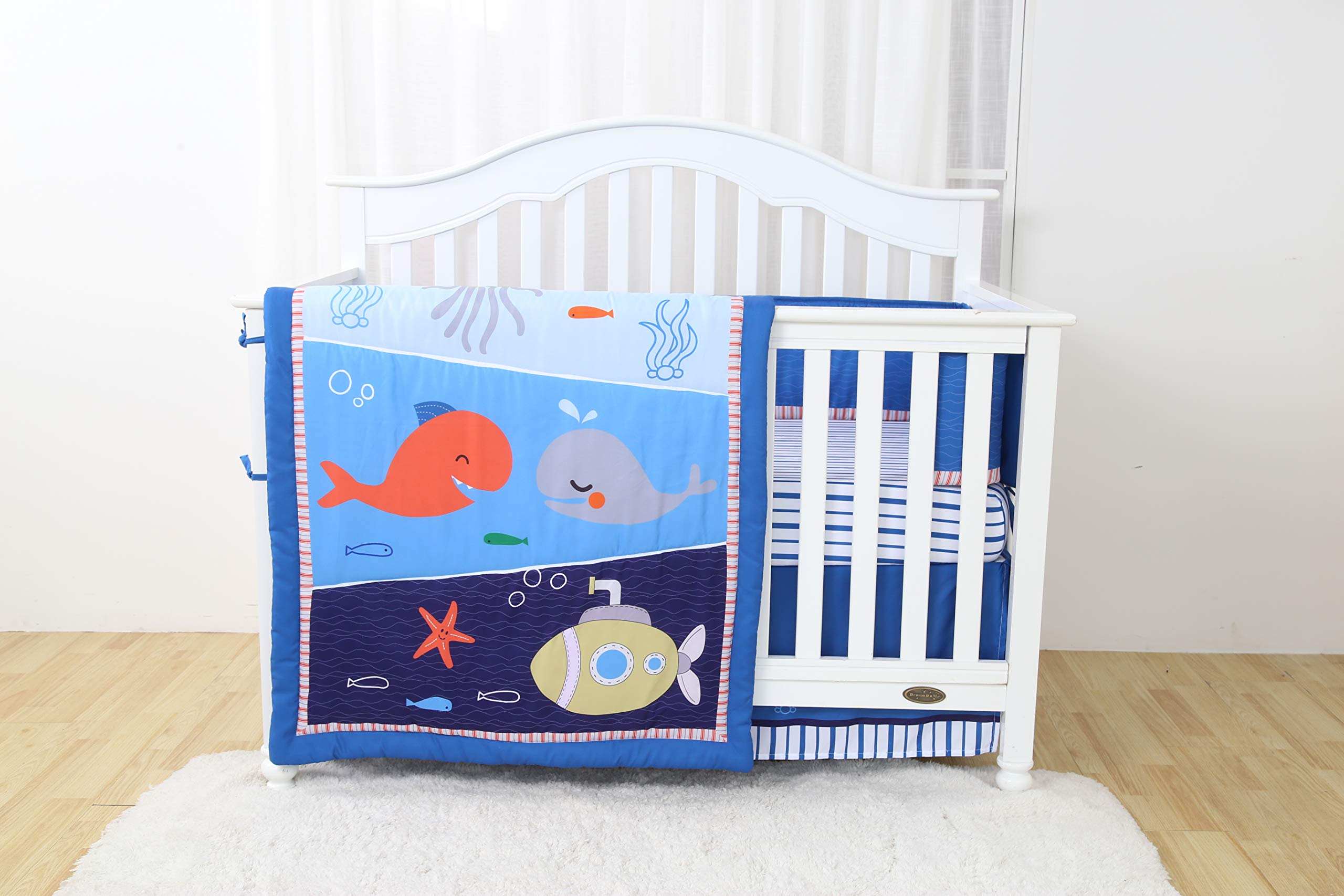 Linens And More Modern Luxury Quality 4 Piece Crib Bedding Sets for Girls and Boys, Set Includes, Fitted Sheet, Crib Bumper, Crib Skirt and Reversible Quilt (Whale) by Linens And More