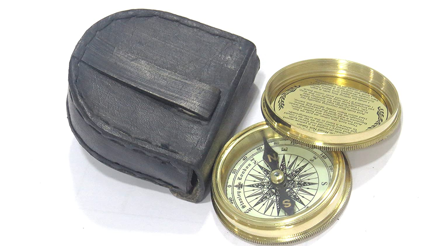Robert Frost Poem Compass-Pocket Compass w Leather Case Stanley London Nickel