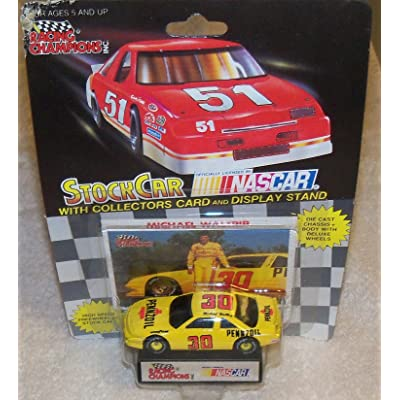 Racing Champions NASCAR #30 Michael Waltrip Pennzoil Racing Team Stock Car with Driver's Collectors Card and Display Stand Black Background 51 Car: Toys & Games