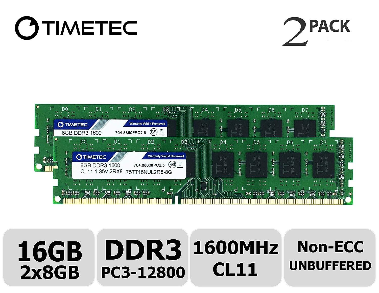 Timetec Hynix IC 8 GB DDR3L 1600 MHz PC3L-12800 Non-ECC Unbuffered 1, 35 V/1, 5 V CL11 2Rx8 Dual Rank 240 Pin UDIMM Desktop PC Computer RAM Module Upgrade (8 GB) 75TT160UL1R8-4G