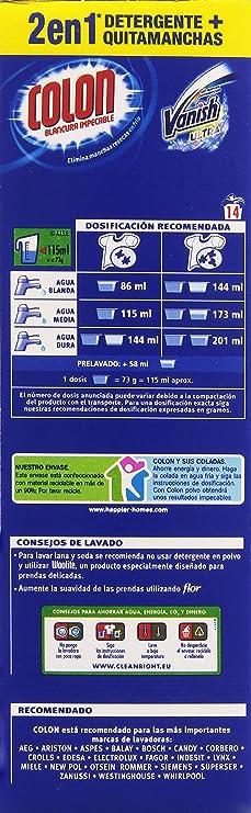 Colon Detergente polvo con Vanish, 14 lavados - 1022 gr: Amazon.es ...