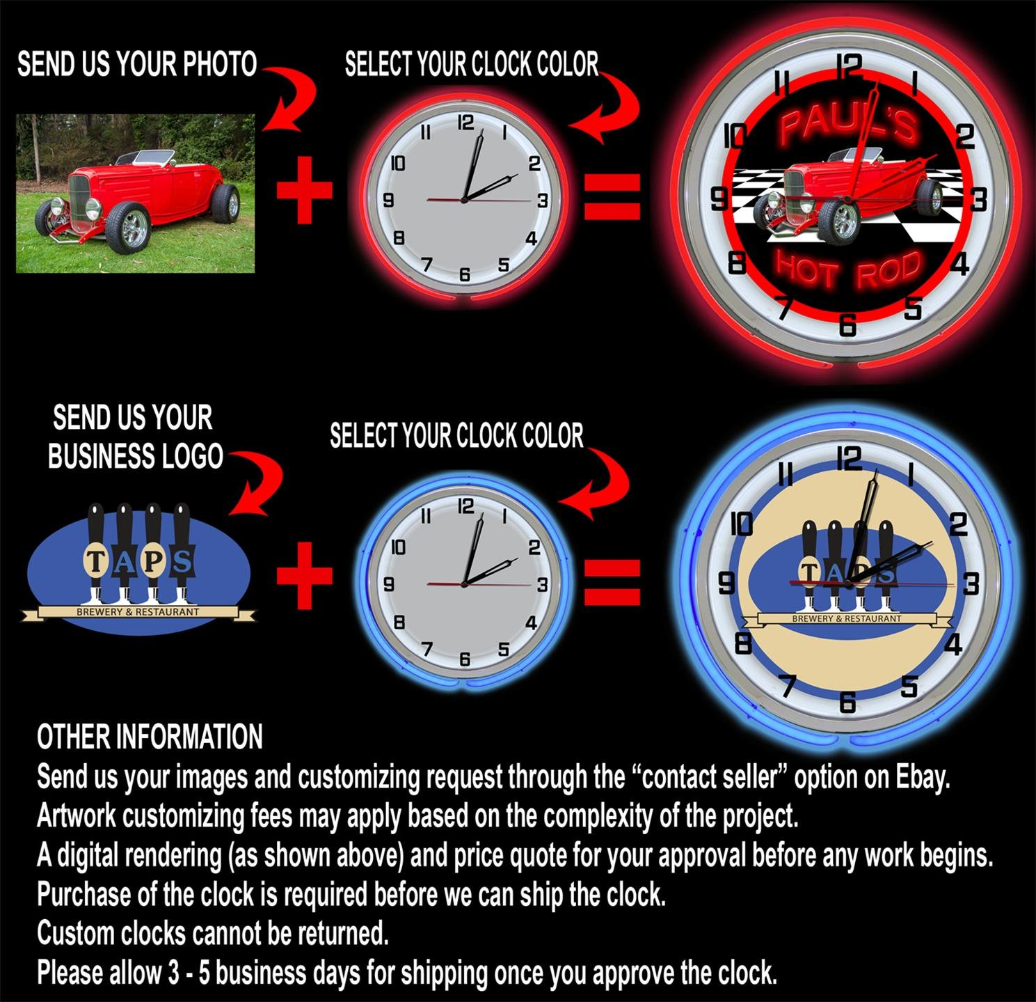 Arkansas University Razorbacks 18'' Red Neon Garage Clock from Redeye Laserworks by Redeye Laserworks (Image #4)