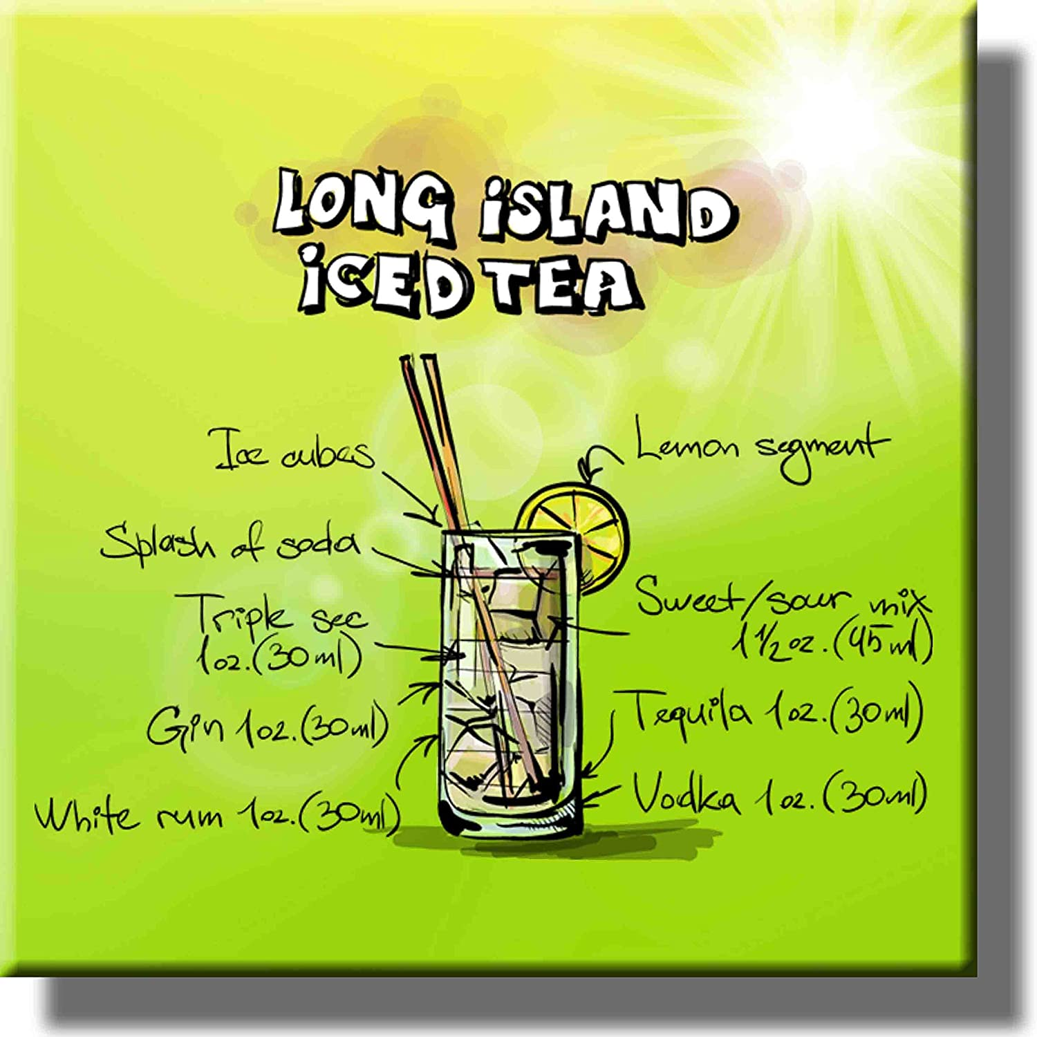 Long Island Iced Tea Cocktail Recipe Picture on Stretched Canvas, Wall Art Decor, Ready to Hang!