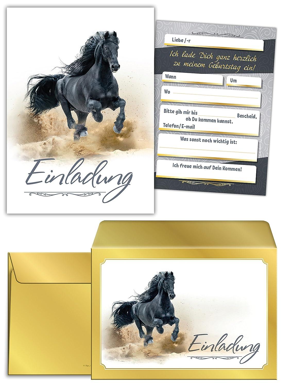 JuNa-Experten 8 Einladungskarten Kindergeburtstag Pferd Mädchen ...