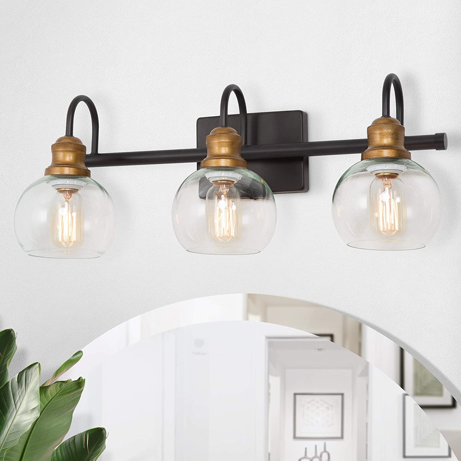 Laluz Bathroom Light Fixtures Vanity Lights With Oil Rubbed Bronze Finish Antique Gold Socket Clear Glass Shade 22 5 L X 7 W X 9 H Amazon Com