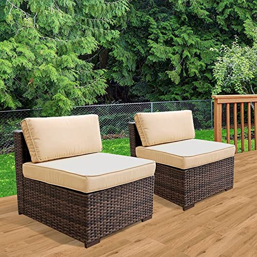 Patiorama Patio Loveseat Wicker Armless Chairs, All Weather Dark Brown PE Wicker Sofa Chair,Additional Seats for Sectional Sofa, Beige Cushions,Steel Frame,2 Piece