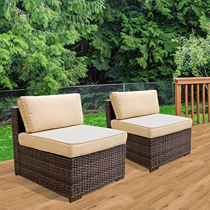 Peachy Patiorama Patio Loveseat Wicker Armless Chairs All Weather Brown Pe Wicker Sofa Chair Additional Seats For Sectional Sofa B07Cvmrfzy B07Cvmw435 Theyellowbook Wood Chair Design Ideas Theyellowbookinfo