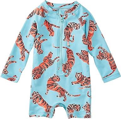 Girls Tea Collection Rash Guard Long Sleeve Swim Shirt Tossed Tiger