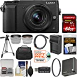 Panasonic Lumix DMC-GX85 4K Wi-Fi Digital Camera & 12-32mm Lens (Black) with 64GB Card + Case + Battery & Charger + Tripod + Tele/Wide Lens Kit