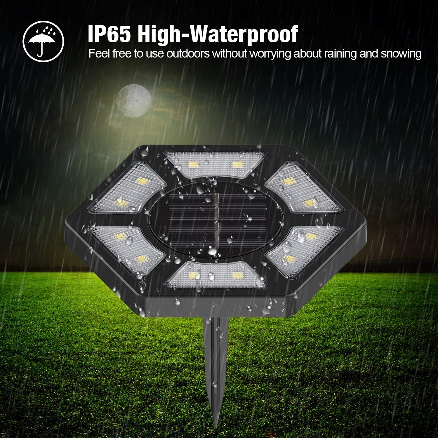 Karvipark Solar Ground Lights,12 LED Garden Lights Solar Powered Patio Outdoor Lights Waterproof In-ground Landscape Lighting for Yard Lawn Deck Pathway Walkway Driveway 6 Pack