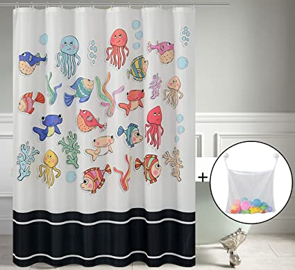 Water Repellent Kids Fabric Shower Curtain Or Liner Underwater Cartoon OctopusFish