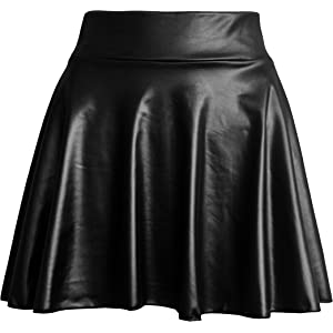 e04c4894d TOOTO Women's Faux Leather Casual Fashion Stretchy Flared Pleated A-Line  Circle Mini Skater Skirt