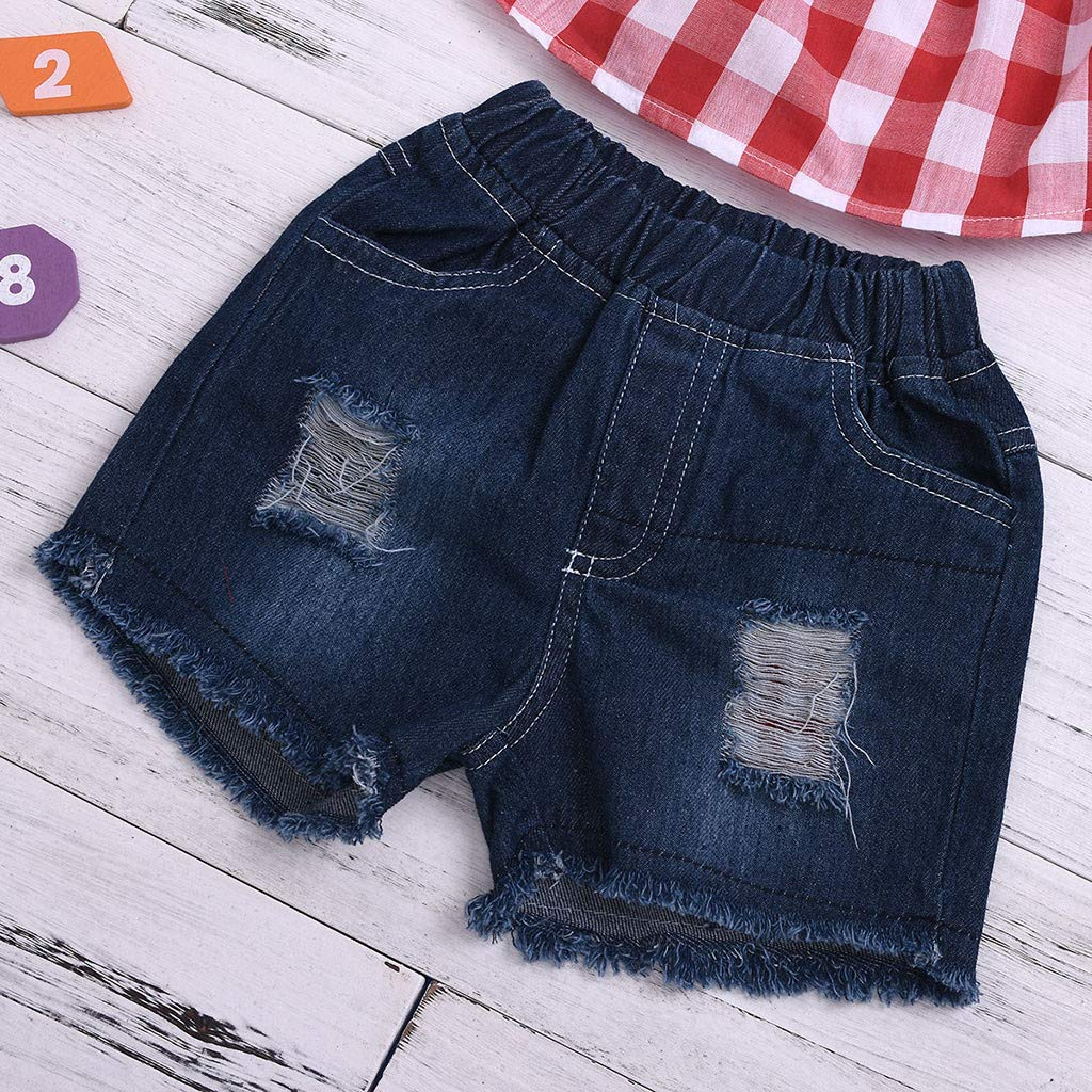 Fabal Toddler Baby Girls Off Shoulder Plaid Print Lace Tops+Hole Denim Shorts Outfits