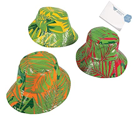 38ccd680a93 Amazon.com  Bargain World Banana Leaf Bucket Hats (With Sticky Notes ...