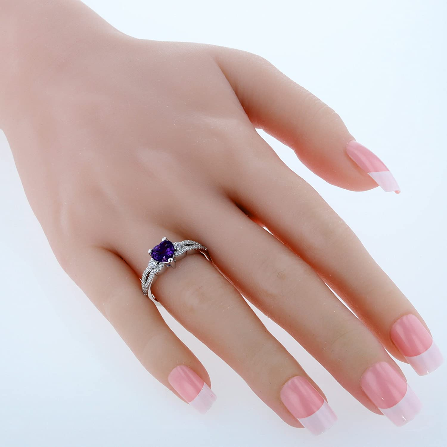 Amazon.com: Sterling Silver Heart Soulmate Ring Sizes 5 to 9 in ...