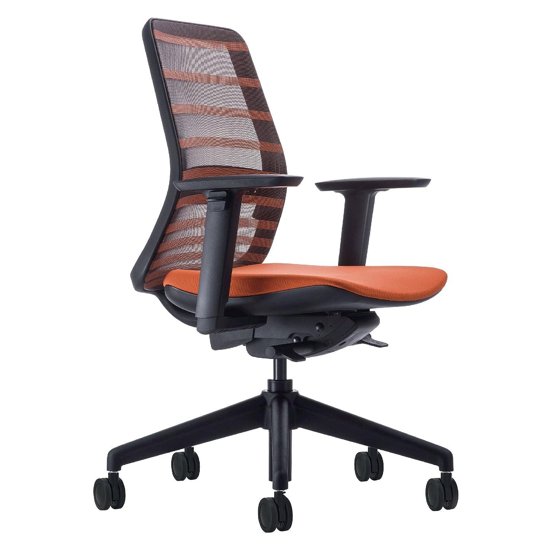 KOPLUS オフィスチェア トニック(TONIQUE) 肘付樹脂BK/座面オレンジ 127821 B00DQ3P3N2 オレンジ オレンジ