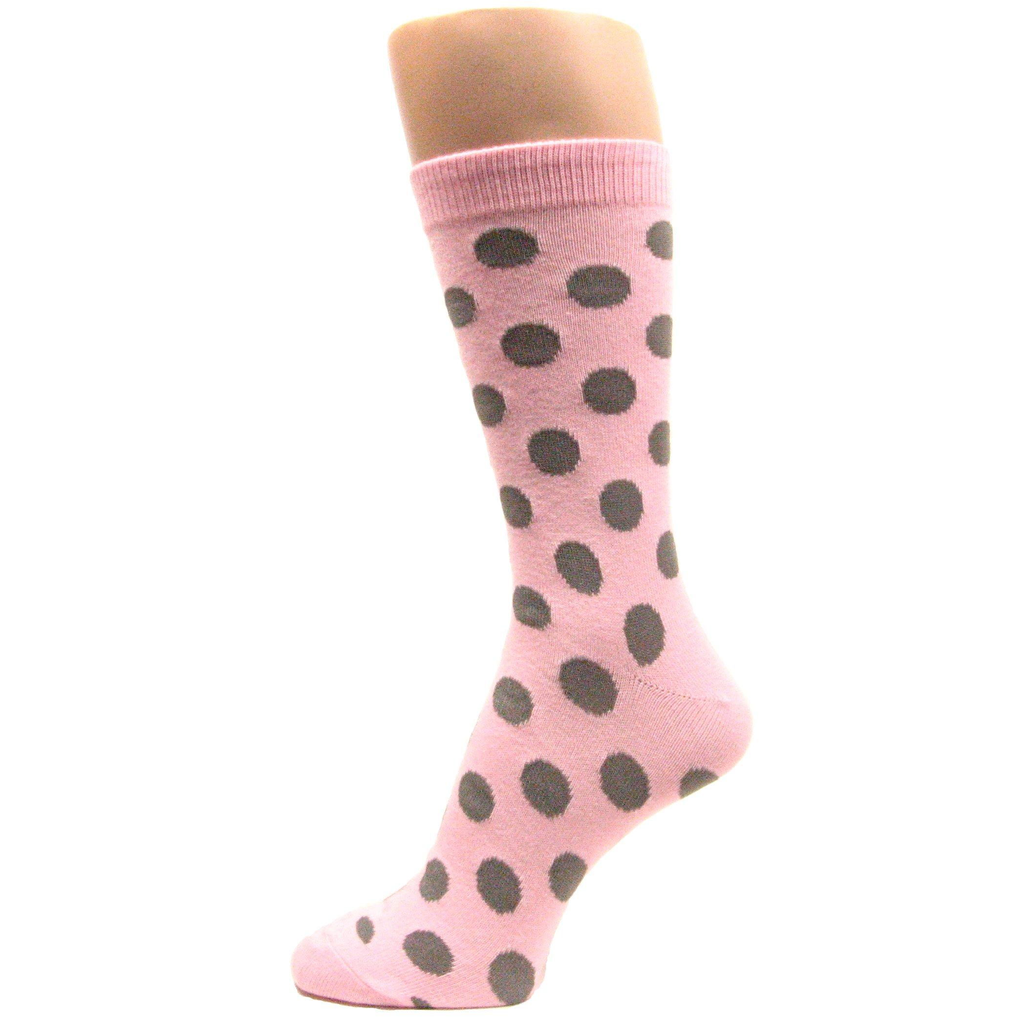 Spotlight Hosiery Men's Groomsmen Wedding Polka Dots Dress Socks-Light Pink/Gray