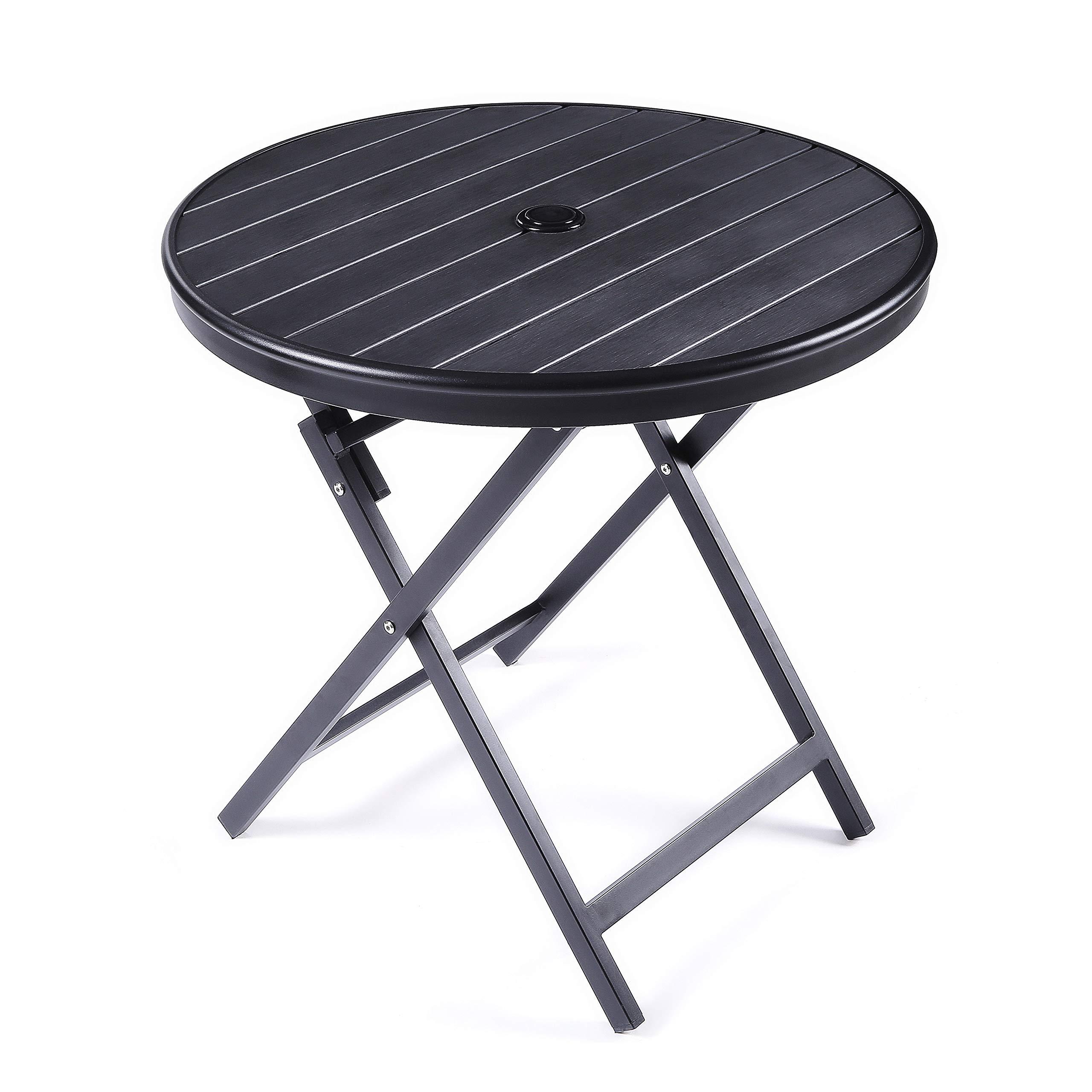 JIWU Large Outdoor Patio Portable Bistro Table, Round Folding Dining Table Aluminium Alloy & PE Wood- Dia.28.3'' x H27.6