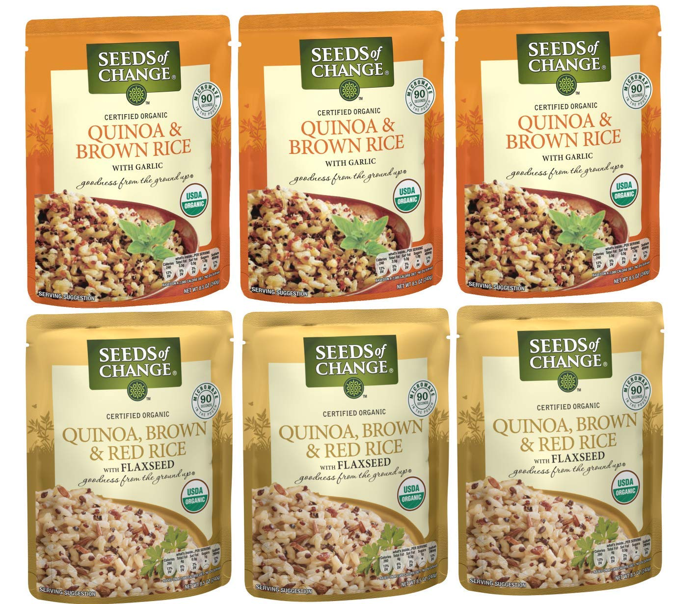 Seeds of Change Organic Rice Variety Pack, Quinoa Brown Rice & Red Rice with Flaxseed, Ready to Heat, 6 Count (Pack of 6)
