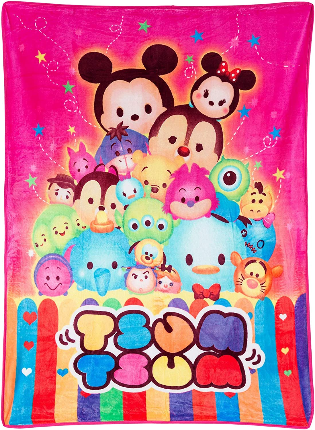 TSUM Disney and Friends Pink Plush Silky Touch Blanket,46X60