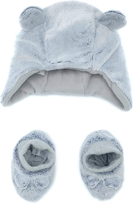 0b0666c834f accsa Baby Novelty Bear Earflap Trapper Hat with Fleece Lining for 0-1 Month  Gray