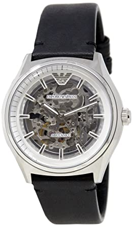 adbcea4674300 Image Unavailable. Emporio Armani Black Stainless Steel & Leather Watch  AR60003