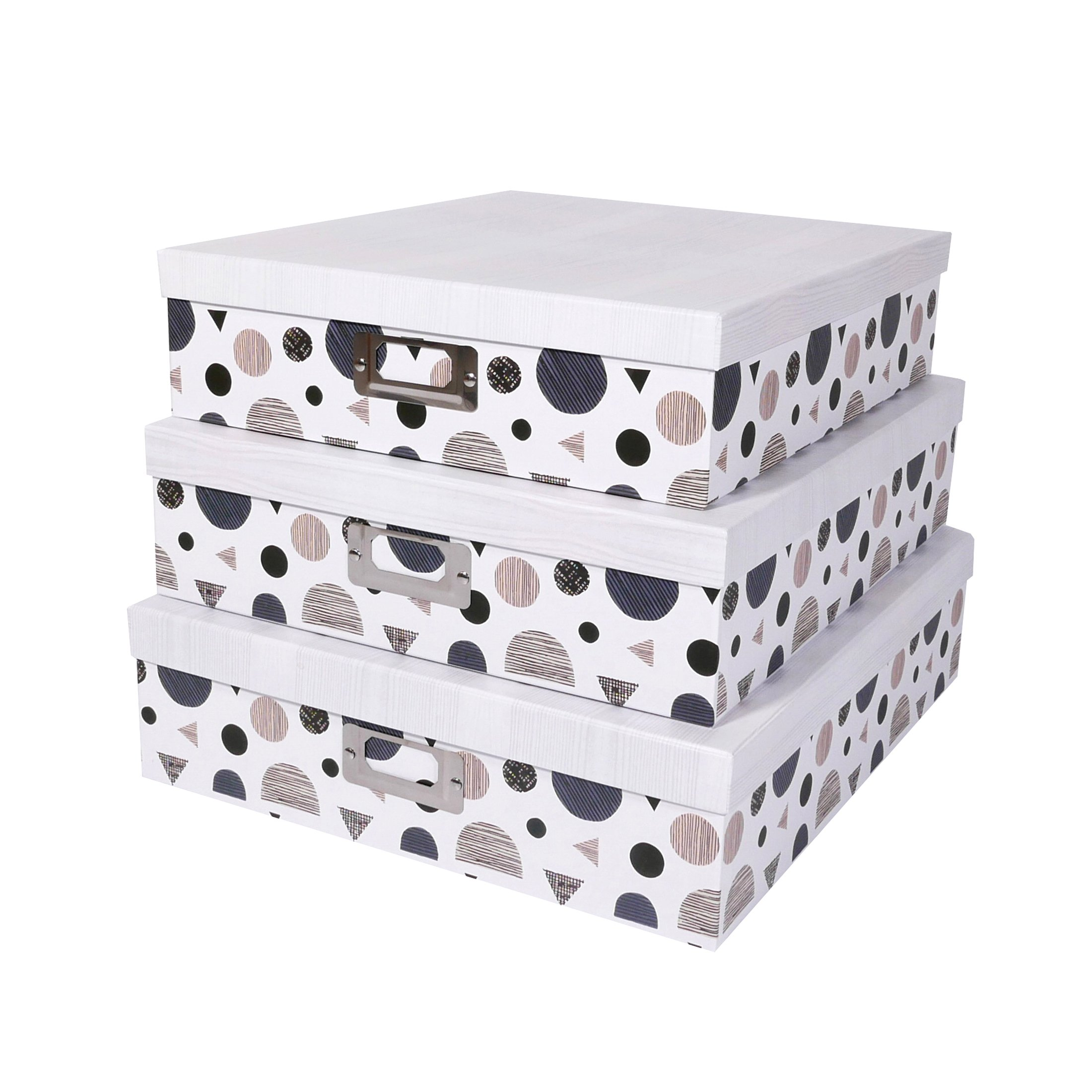 SLPR Decorative Storage Cardboard Boxes with Metal Plate (Set of 3, Geometrical) | Nesting Gift Boxes with Lid for Keepsake Toys Photos Memories Closet Nursery Office Bedroom Decoration