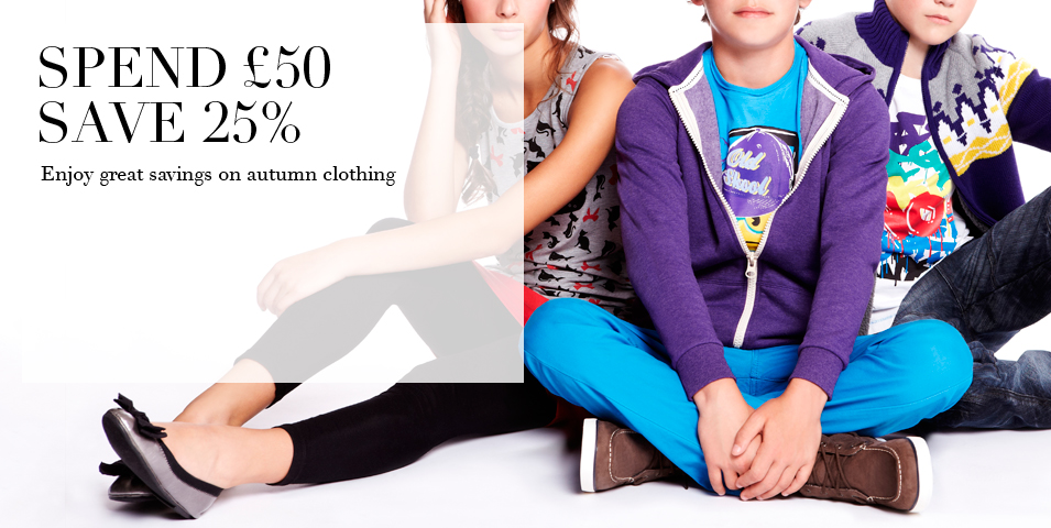 Spend £50 save 25% Enjoy great savings on autumn clothing